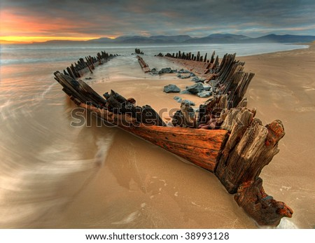 The Sunbeam  ship wreck on the Rossbeigh beach - stock photo