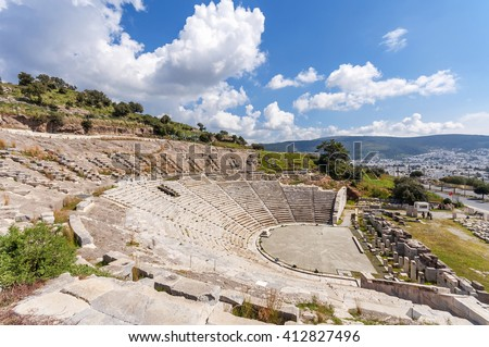 The theater of ancient Halicarnassus in Bodrum, Turkey - stock photo