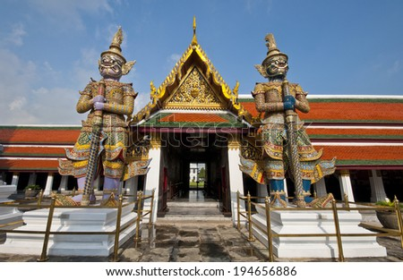 The twin giant are take care the grand-palace. - stock photo