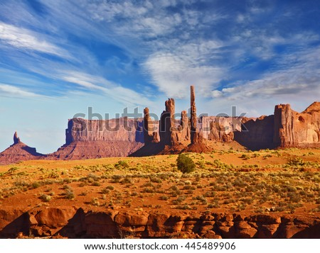 "The unique red sandstone buttes ""mitts"". Magic view of the red desert. Monument Valley in the Navajo Indian Reservation. Arizona, USA"