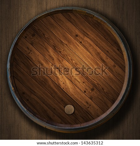 the Wine barrels wood background - stock photo