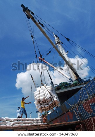 The worker at port Belawan - stock photo