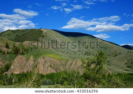 These foothills are seen from Sun Valley, Idaho in the Wood River Valley.                               - stock photo