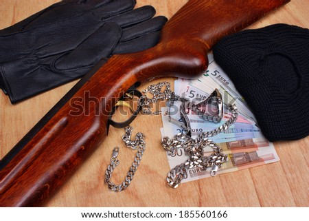 Things bandit criminal and stolen loot by thieves  - stock photo
