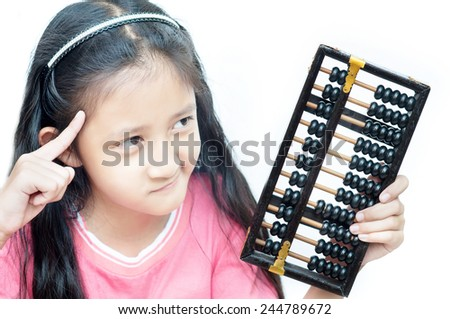 thinking  Young girl - stock photo
