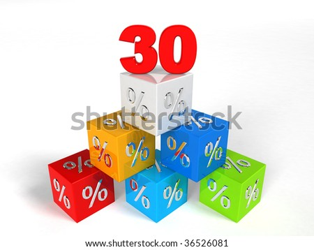 30 - thirty Percent - pyramid cube - Objects over white - stock photo