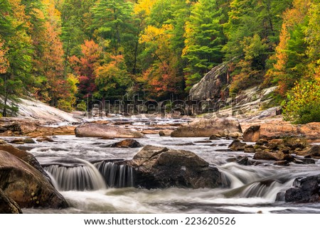 This one is Wilson Creek in North Carolina. The colors are really popping in the mountains.  - stock photo