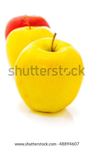 three apples isolated on white. - stock photo