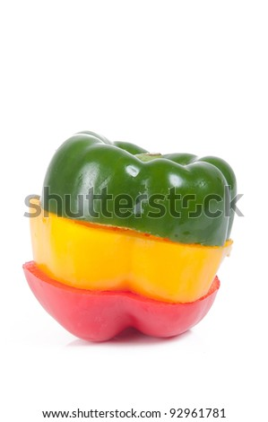 three colourful peppers made to one paprika