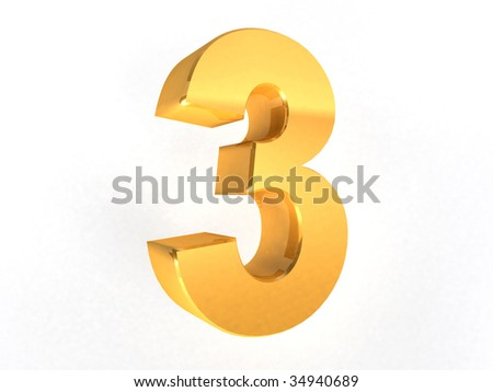 3 - three Gold Number on white background - 3d image