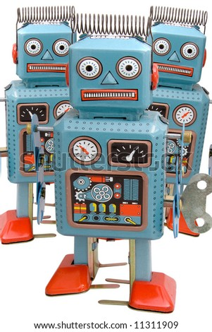 three robots marching - stock photo