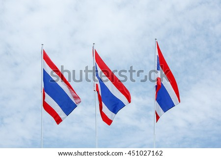 Three Thailand flag  on the sky.