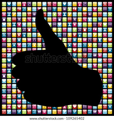 Thumb up hand in smart-phone app icon set seamless pattern. - stock photo