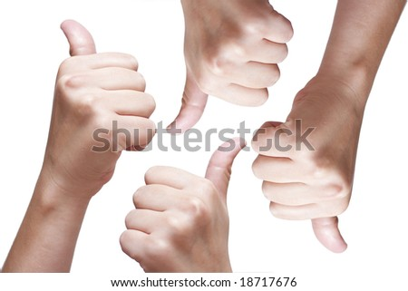 2 thumbs up - 2 thunbs down - stock photo