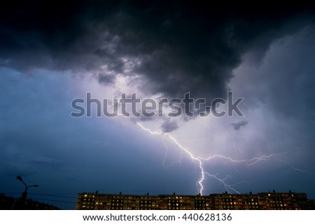 Thunderstorm over the city.