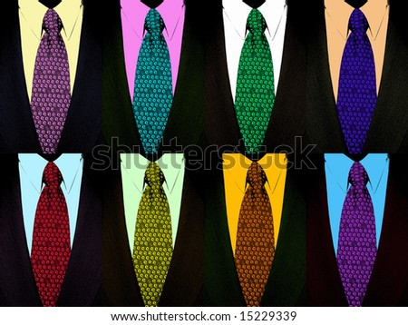 8 tie and suit in pop art style - stock photo