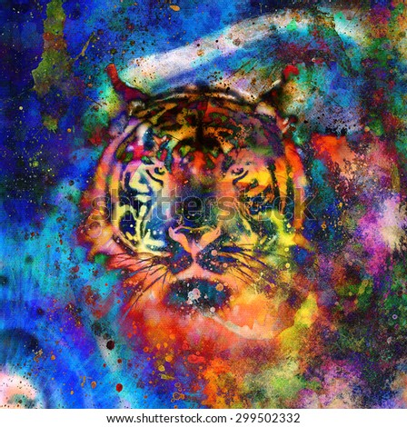 tiger collage on color abstract  background,  rust structure, wildlife animals - stock photo