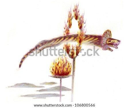 tiger jumping through the fire - stock photo