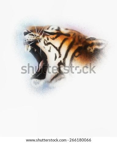 tiger on white background wildlife animals - stock photo