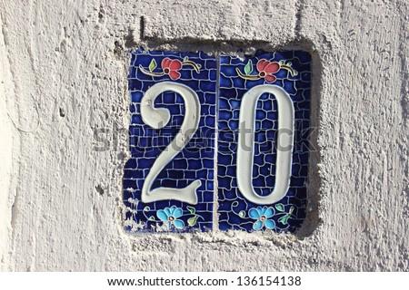 20 Tile numbered (door number) & 20 Tile Numbered Door Number Stock Photo (Royalty Free) 136154138 ...