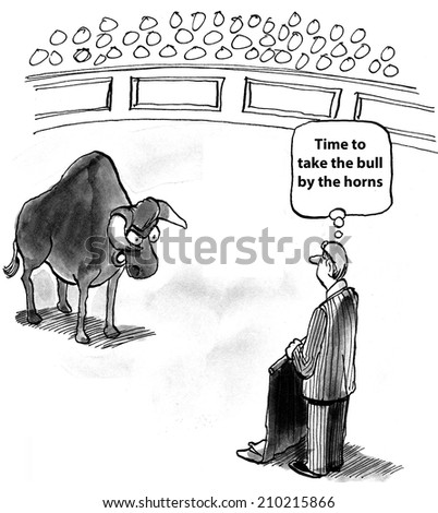 'Time to take the bull by the horns.' - stock photo