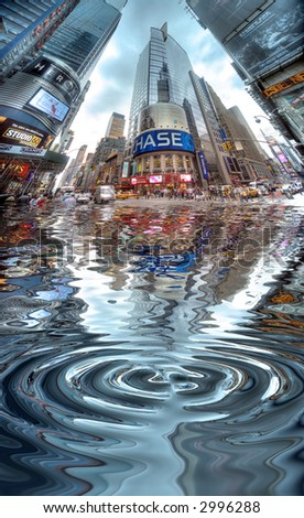 Times Square - Manhattan - water reflection - stock photo
