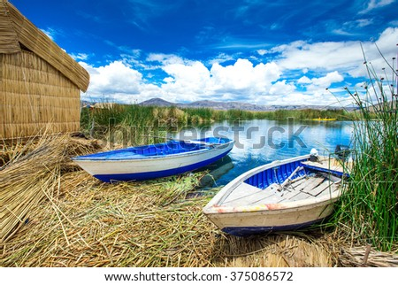 Titicaca lake near Puno, Peru - stock photo