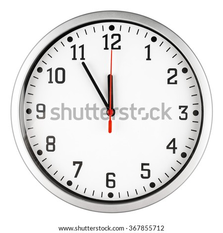5 to 12 clock concept isolated on white background - stock photo