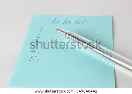 """""""To do list"""" is written on notepad with pen.selective focus - stock photo"""