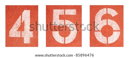 4 to 6 ,Numbers on red running track - stock photo