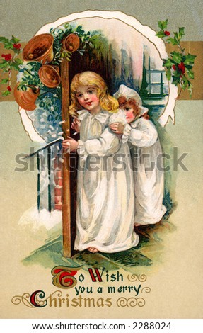 'To Wish you a merry Christmas' - Children in night gowns at front door on Christmas Eve - a circa 1910 vintage greeting card illustration