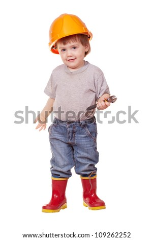 Toddler in hardhat with wrench. Isolated over white background - stock photo