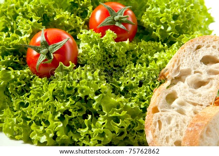 2 Tomatos in a salat with bread. - stock photo