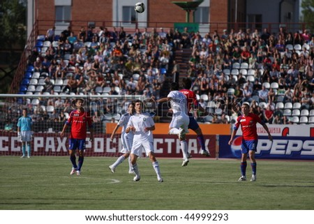 TOMSK, RUSSIA - AUGUST 1: Football match Championship of Russia among Tom'(Tomsk) - CSKA (Moscow), August 1, 2009 in Tomsk, Russia. - stock photo
