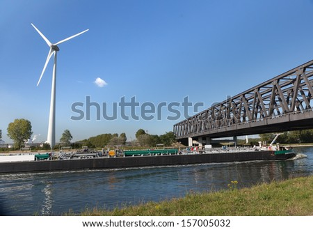 3000 Ton tanker barge sailing on the canal from Antwerp Port to the Netherlands - stock photo