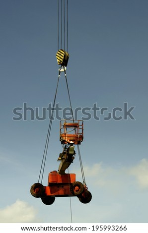 100 tons crane operation lift up crane truck - stock photo
