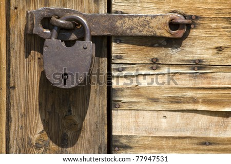 Tool  lock  closed door - stock photo
