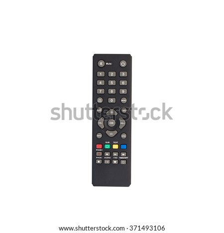 top box TV remote control isolated on white background - stock photo