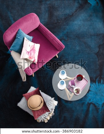 top view armchair with blue carpet interior cafe table - stock photo