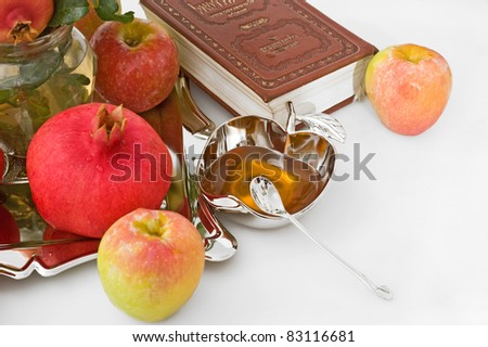 torah, ripe apple  and honey for Rosh Hashana– jewish new year - stock photo