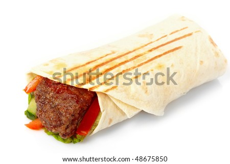 tortilla with beef and vegetables - stock photo