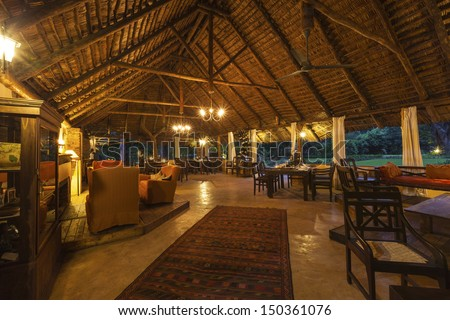Tourist reception hut. Ruaha  national park Tanzania  Africa - stock photo