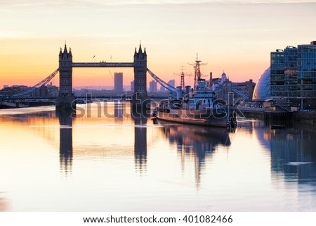 Tower Bridge in London at sunrise. - stock photo