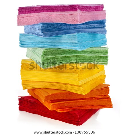 tower serving colored paper napkins isolated on white background - stock photo