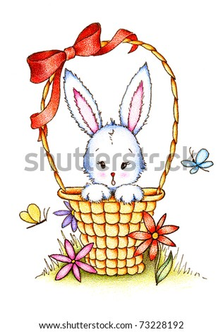toy bunny with red ribbon and flowers in basket on white background hand drawn - stock photo