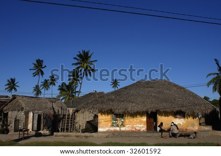 traditional african house Island of Mozambique - stock photo
