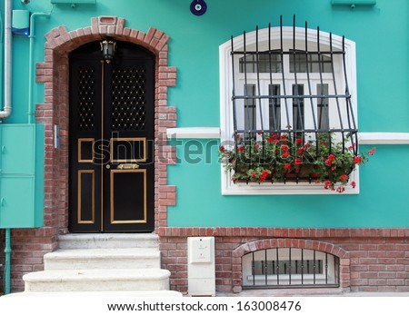 Traditional house at Balat District in Istanbul, Turkey.  - stock photo