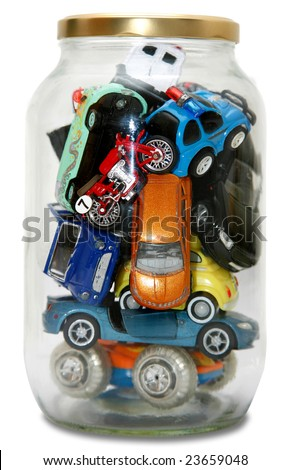 """Traffic Jam""ed in transparent jar with lid isolated on white background - stock photo"