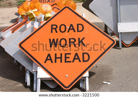 """traffic sign"" series ""road work ahead"""
