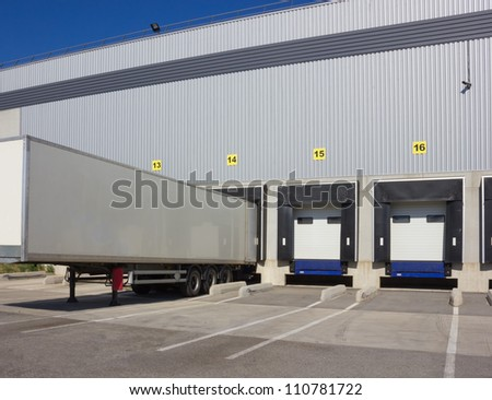 trailer of truck at loading - stock photo